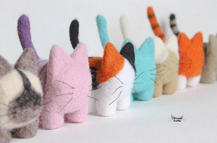 Cute Needle felting wool animals cats(Via @lizasiama)
