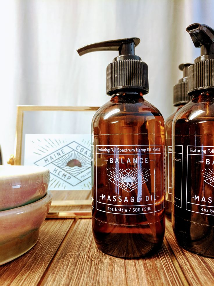 This massage oil is infused with full spectrum hemp oil