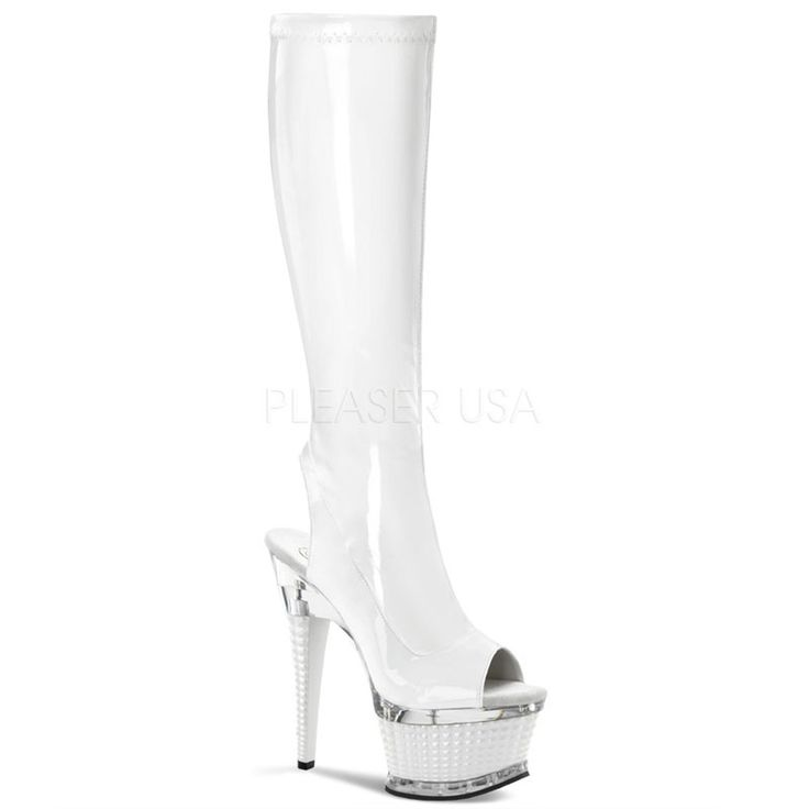 PLEASER ILLUSION-2019 White Stretch Pat-White Knee High Boots