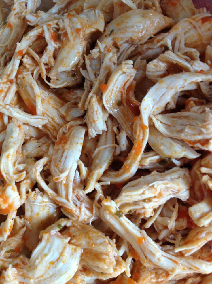 Buffalo Shredded Chicken [in the Crockpot] | how 'bout some cake?