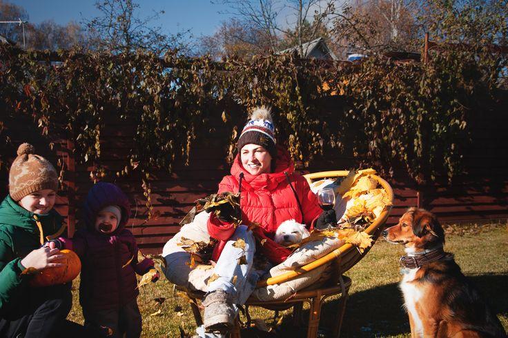 Autumn family outdoor portrait