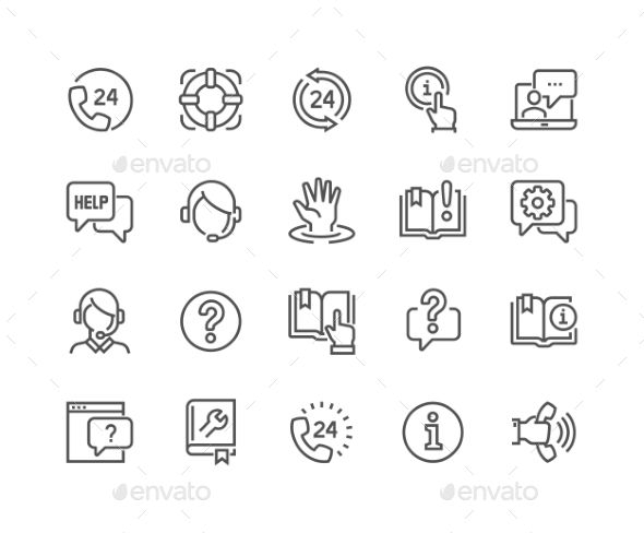 Line Help And Support Icons. Download here: https://graphicriver.net/item/line-help-and-support-icons/17260803?ref=ksioks