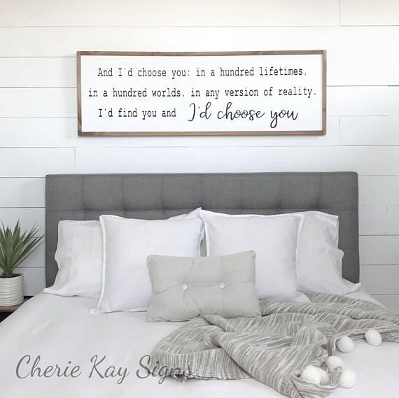 Bedroom Decor I D Choose You Wood Sign Farmhouse Framed Rustic Wall 16 5 X 49 Each