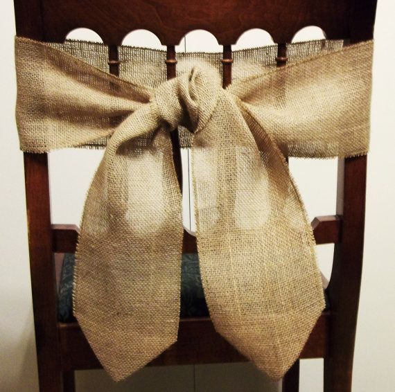 Burlap Chair Back Ties: Chair Ties, Chairs Ties, Dining Decor, Chair Backs, Burlap Chairs, Burlap Bows, Wedding Chairs, Chairs Back, Decor Rustic