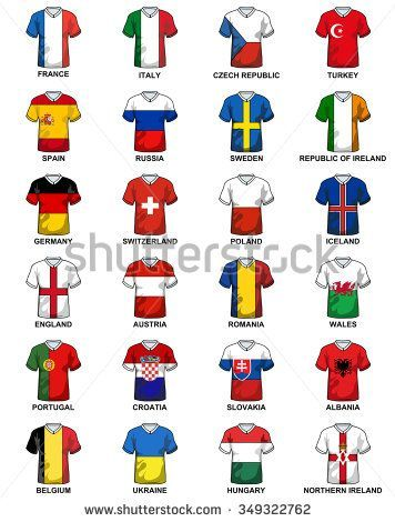 t shirts with flags of european countries participating to the final tournament of euro 2016 football championship stock vector from the largest library