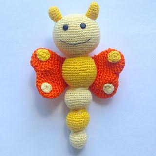 La piccola bottega della Creatività: Farfalla sonaglio amigurumi - tutorial uncinetto free crochet pattern