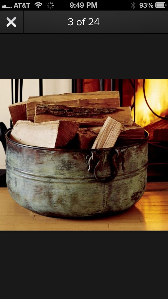 If you have a fireplace that works with wood then you'll need something to store all that wood in. A simple and interesting idea would be to use a large bucket. This one is made of copper and has a vintage look with lots of character. Place it close to the fireplace and fill it with firewood, paper and anything else you need