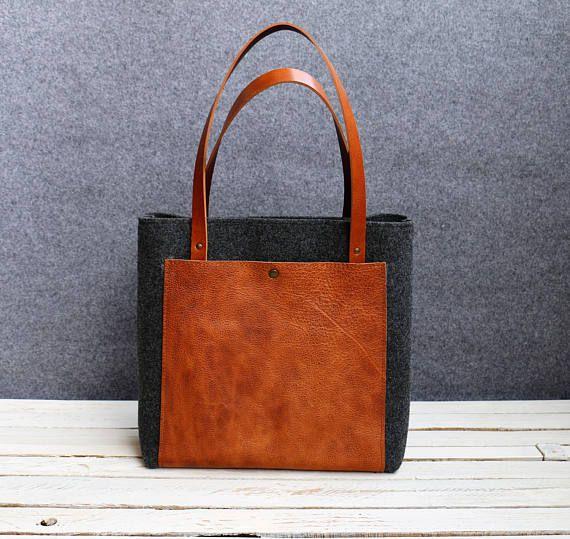 FREE SHIPPING,Leather tote bag, handmade bag,felt bag,, tan leather,  grey tote, tote, large tote bag, felt tote bag