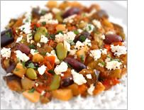 Greek fava bean, eggplant and olive stew with feta
