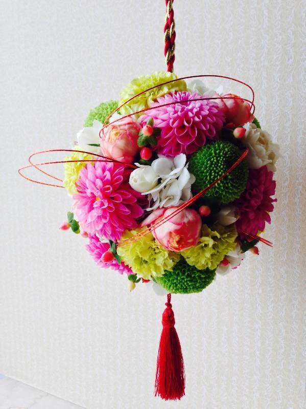 Japanese style wedding bouquet ボールブーケ