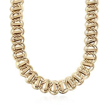 14kt Yellow Gold Over Sterling Silver Oval and Bar-Link Necklace