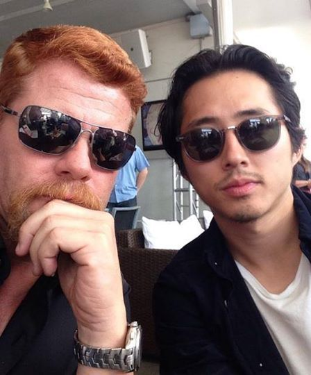 Michael Cudlitz (Abraham) and Steven Yeun (Glenn) on the set of The Walking Dead. #TWD