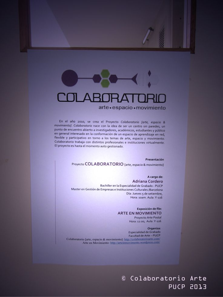 Charla © Colaboratorio Arte - PUCP. Cartel informativo.