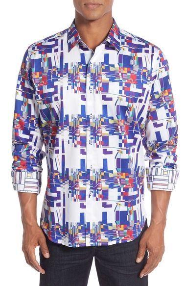 Robert Graham Mens NWT Interstates Long Sleeve Multi Colors Shirt 3XL 268