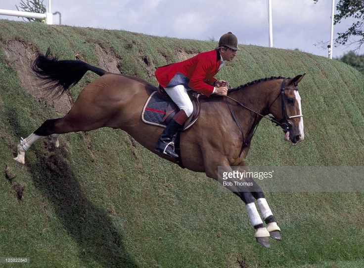 Nick Skelton of Great Britain riding his horse Apollo during the Silk Cut Derby at Hickstead, circa July 1988.