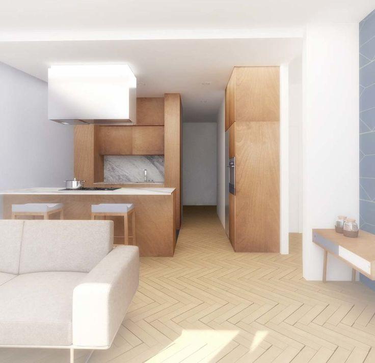 El piso de Irene - cocina y salón #reforma #renovation #cocina #kitchen #blanco #white #madera #wood #papelpintado #wallpaper #iluminacion #lighting #marmol #marble