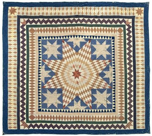 "Pennsylvania silk Lonestar quilt, 19th c., with snowflake corner blocks with elaborate border, 100"" x 104"". Provenance: Nina Fletcher Little."