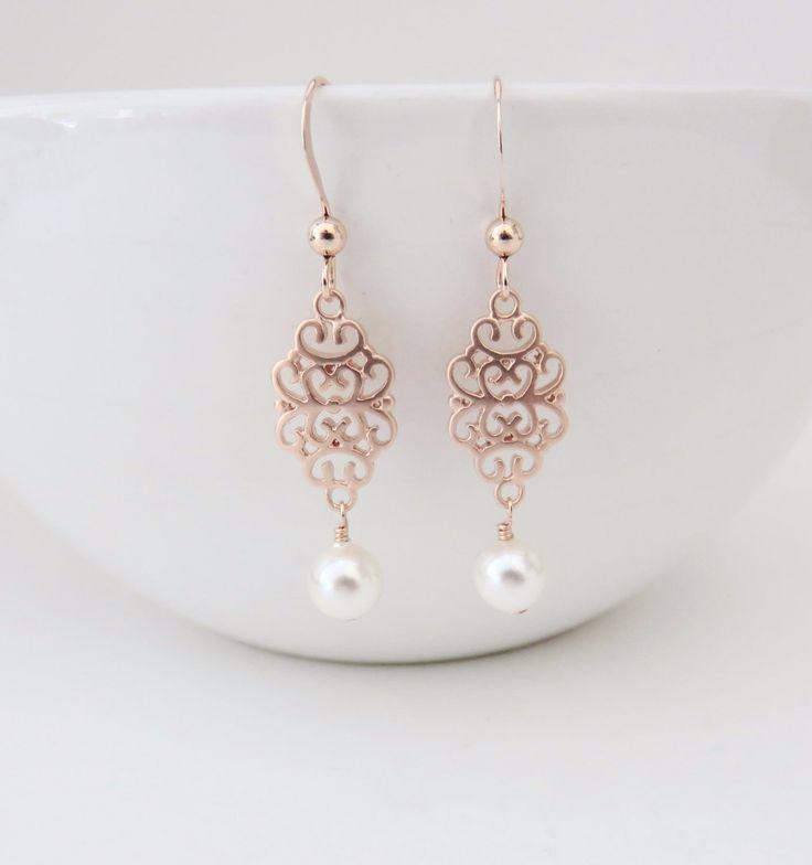 Rose Gold Earrings, Filigree Earrings, Rose Gold and Pearl Earrings