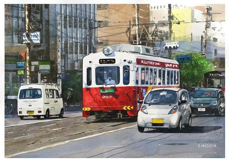Masato Watanabe [Streetcar] Watercolor 30×40cm 路面電車 大阪 水彩  (塗り忘れがあり再投稿します。すみません ^_^; )
