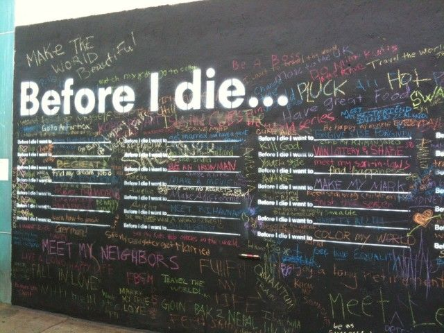 Installation artist and urban planner, Candy Chang recently inspired New Orleans locals to declare their hopes and dreams on a wall in their community for her new project, Before I Die. This interactive street art uses an abandoned house as a blackboard and encouraged passersby to write down the one thing they want to do before they kick the bucket with the chalk provided.
