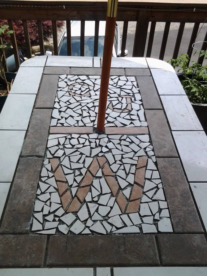 Patio table made from hardy board and tile made this after our glass table top exploded - Basics mosaic tiles patios ...