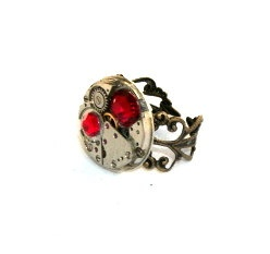 Ring Steampunk Ring watch movement ring red by picsoflive: Rings Steampunk, Steampunk Rings