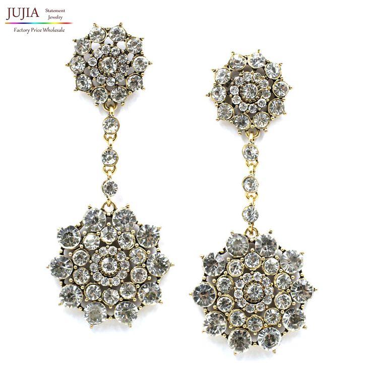 3 colors wholesale crystal earring New statement fashion women  stud Earrings for party wedding earring women gift wholesale