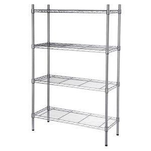 4 Tier Shelving Storage Unit - Chrome