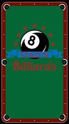 """Dad's Billiard"" Billiard Cloth 7ft Pool Table Felt Unique Textile Printing http://www.amazon.com/dp/B00UI1HTLO/ref=cm_sw_r_pi_dp_Nq0.ub0TP4G3D"
