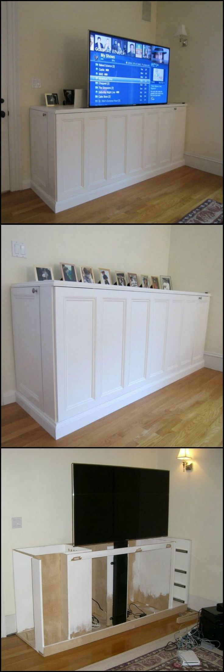 How To Build A TV Lift Cabinet  http://theownerbuildernetwork.co/m3hm  Does your living room have a huge flat screen TV? Is it dominating the room? Wouldn't it be nice if it was out of view when not in use?  This is a great solution to make that flat screen TV disappear when it's not in use.