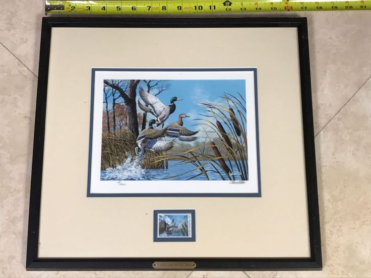 Vintage 1992 Ducks Unlimited Ninth Annual $5 Stamp And Lithograph Print By Harold Roe Hand Signed 35 Of 5,000