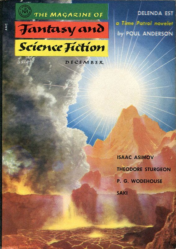 The Magazine of Fantasy and Science Fiction, December 1955, cover by Chesley Bonestell.