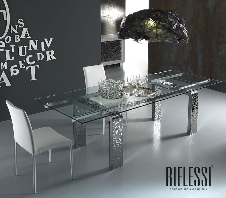 Mito table. characteristic in hammered legs. Discover then whole Mito collection on www.riflessi.it