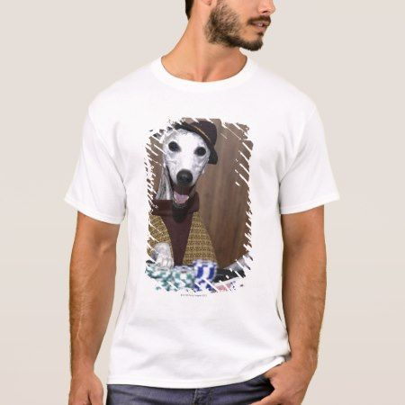 Dressed up Whippet dog at gambling table T-Shirt - tap to personalize and get yours