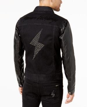 Armani Exchange Men's Lightning Bolt Trucker Jacket, Created for Macy's - Black XXL