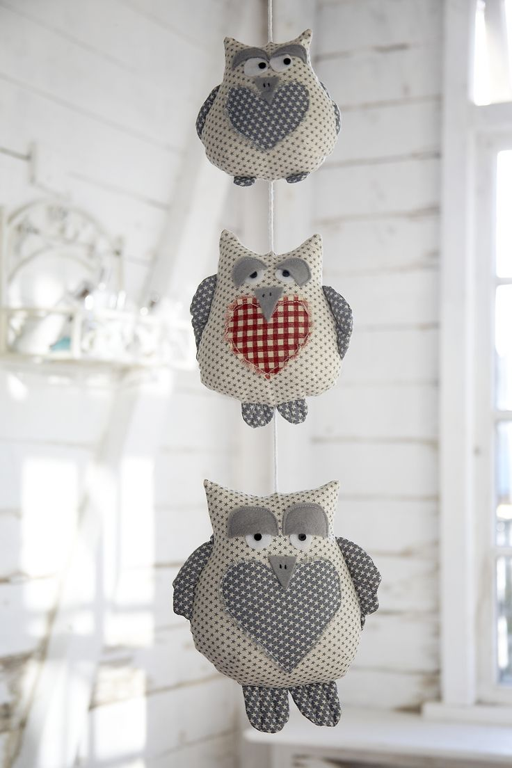 A String of Owls - These sleepy chaps will put a smile on anyone's face! String them together vertically or in a row, add a few more to the team, or stuff a pebble inside to use them as weights or door stops. Available as a download here: http://www.debbieshore.tv/product/string-of-owls-pattern-and-instructions-download/