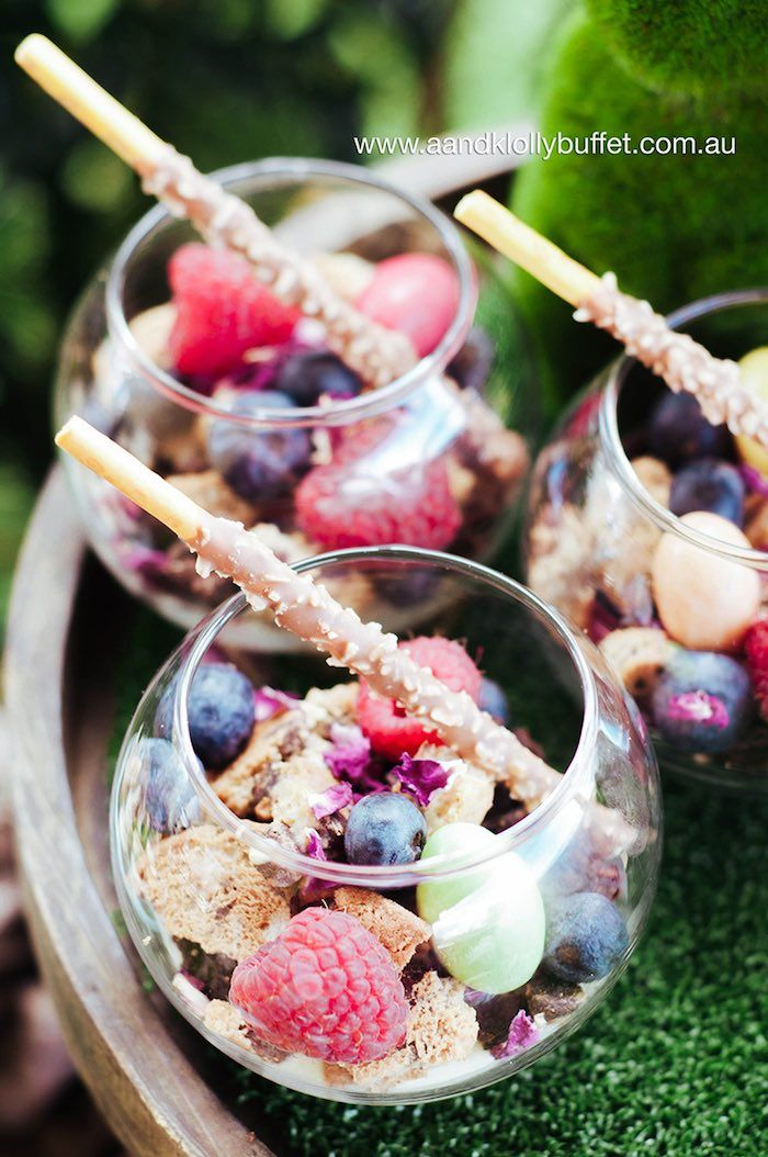 Fruit cups from a Woodland Forest Baby Shower. See dozens of pics at Kara's…