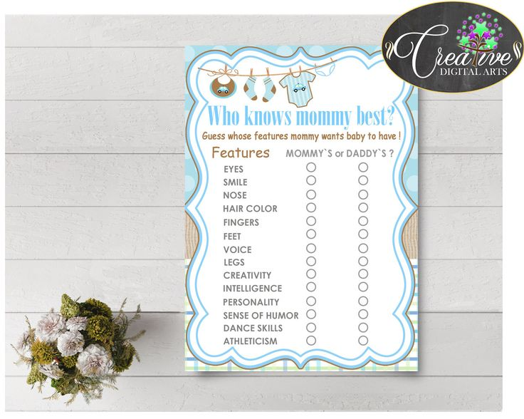 Who KNOWS MOMMY BEST Baby Shower Game With Boy Clothes And Blue Color Theme  Printable, Instant Download   Bc001