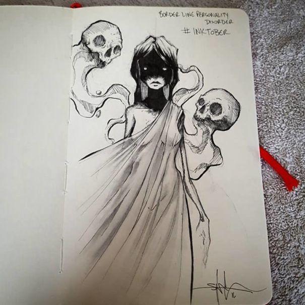 Each beautiful sketch conveys the horrific feelings associated with a mental illness.
