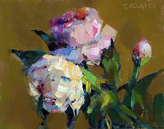 Pink & Yellow Peonies by Trisha Adams Oil ~ 8 x 10