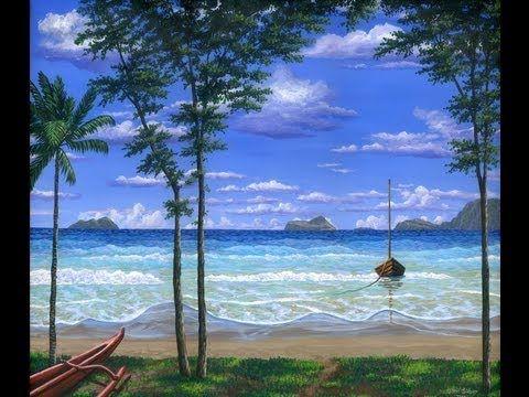 Pintar La Playa Tropical Con Acrílicos Sobre Tela