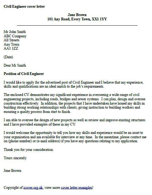 civil engineer cover letter example examples for engineering livecareer