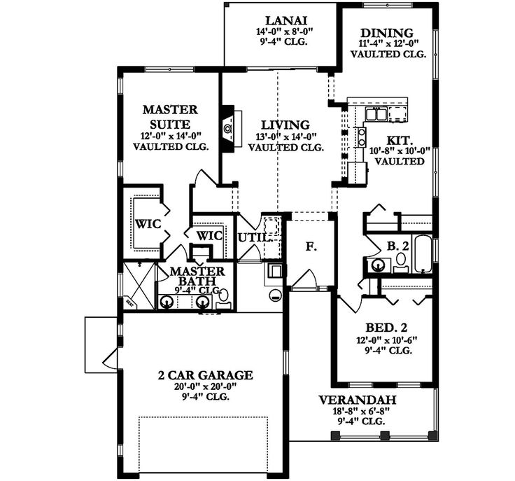 House Plan 397800116 Florida Plan 1,400 Square Feet, 2