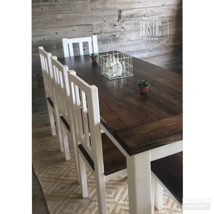 Nikolausrusticwoodwork Farmhouse Dining Room Table Set 7 Ft With 5 Matching Two