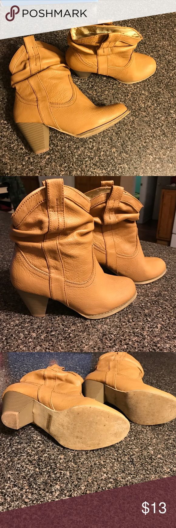 Boots tan short Very cute boot .  Precious with jeans .. worn twice .. a little big for me at 6.5 .. Modesto Shoes Ankle Boots & Booties