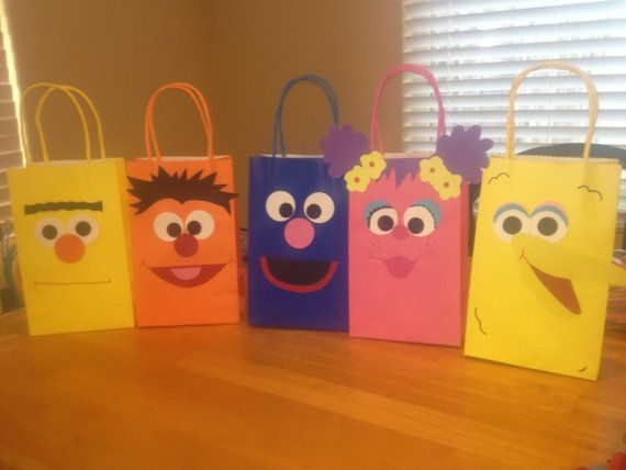 Sesame Street Party Favor Bags by TBcraft06 on Etsy, $18.00