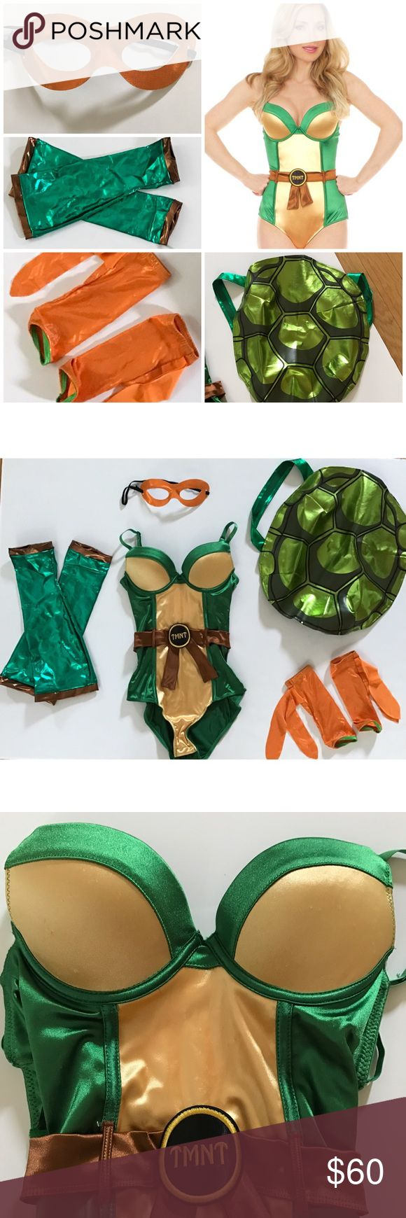 Sexy Ninja Turtle Halloween Costume Complete Set! Unique costume as I put all the different pieces together myself. Comes with: Ninja Turtle Bodysuit (size small has stretch to it and bottom closure) Shell Backpack (used this as a purse for my costume when I was out as it holds your things) Mask, Arm Bands, and Leg Bands. All have stretch to them.   *SMOKE FREE AND PET FREE HOME  *Extremely quick shipping   *Thank you for your support! Other