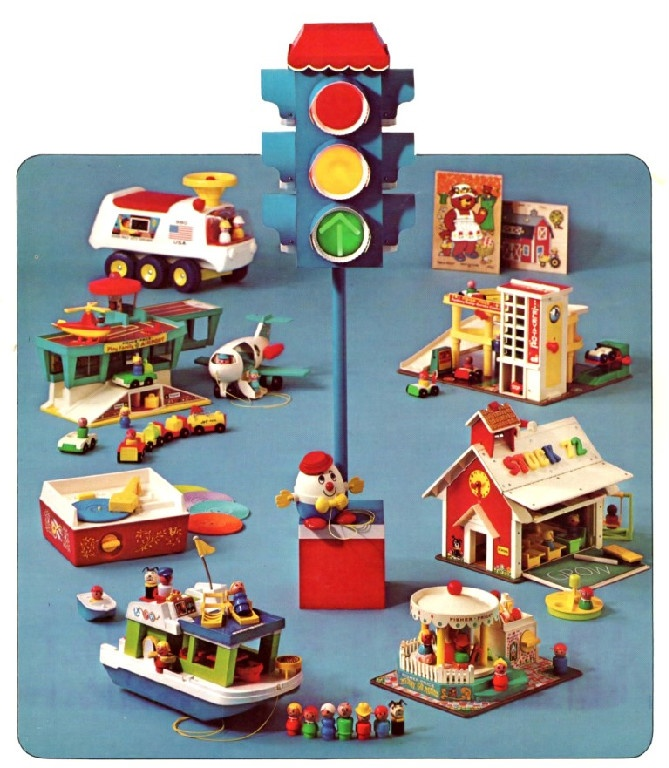 I had almost all of the Fisher Price Toys, and I would set them up like a town, much like this.  My favorites were the camper, the houseboat, and the A-Frame.  Guess I always longed for the country!