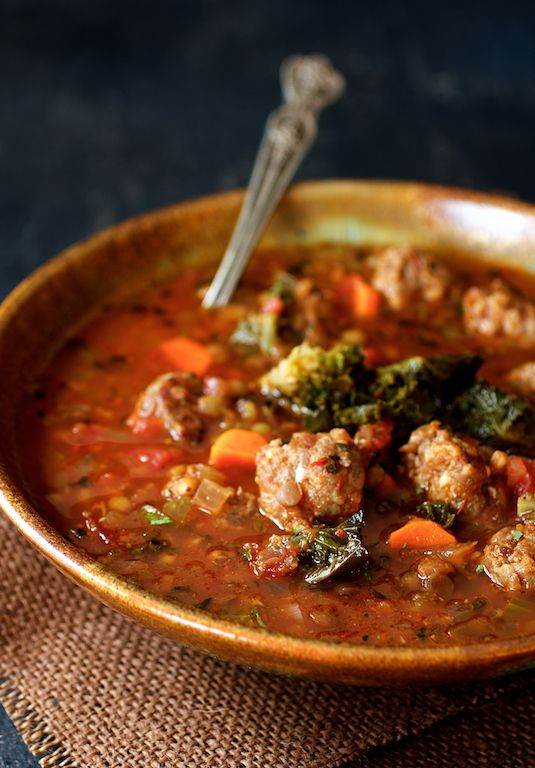 Find Sausage and Lentil Soup with Kale Sprouts and other simply great recipes at From A Chef's Kitchen