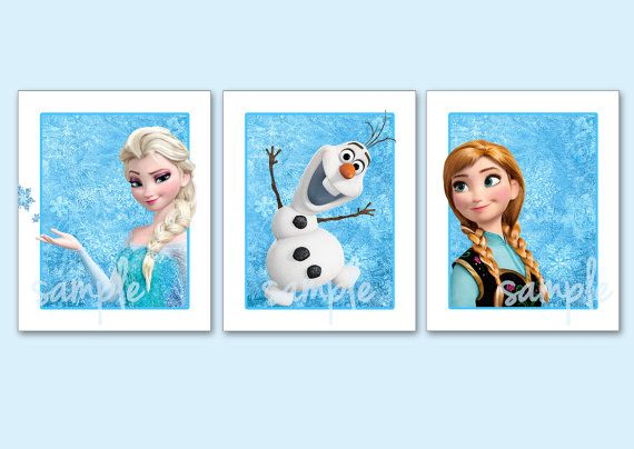 Frozen Artwork Set Of 3 8x10 Art Prints Disney S Pixar